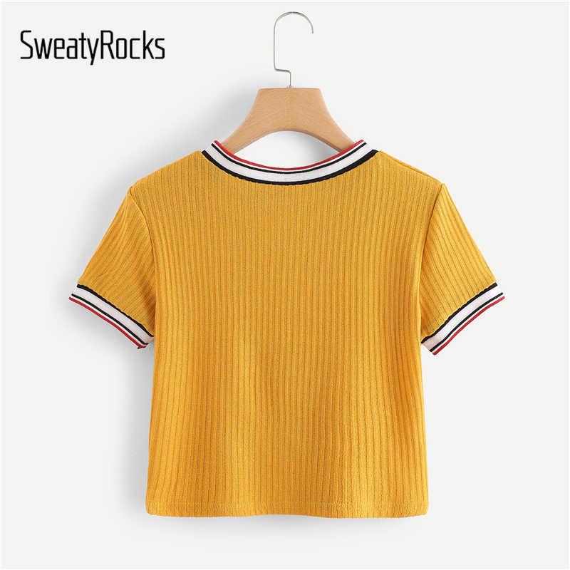 SweatyRocks цветная полосатая шея и манжеты укороченная Футболка женская консервативный стиль желтый топ 2019 с коротким рукавом футболки женские летние топы