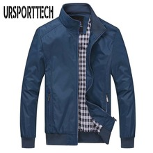 цена на URSPORTTECH Jacket Men Spring Autumn Solid Casual Bomber Jacket Plus Size 5xl 6xl Mens Jackets And Coats Waterproof Windbreaker