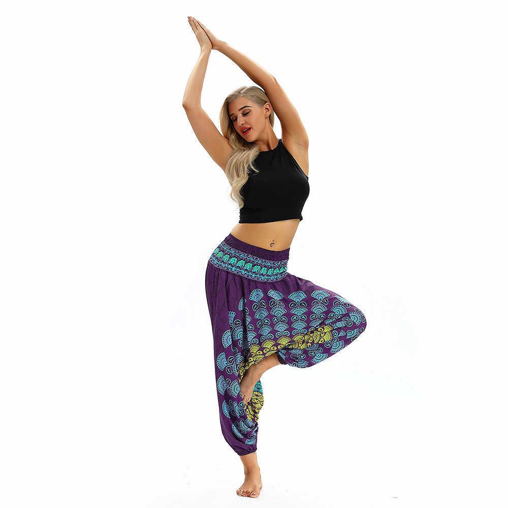 Nuevos pantalones holgados a la moda para mujer pantalones holgados Boho 2019 Casual estampado Aladdin Harem pantalones 8,29