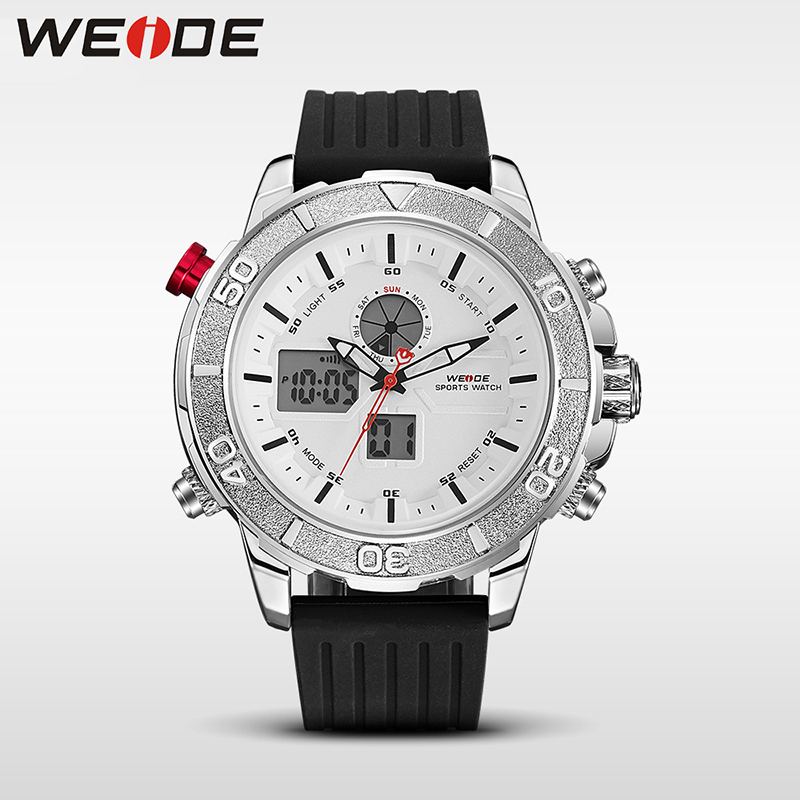 Подробнее о WEIDE Men Quartz Wristwatches Dial Analog Display Date Clock Mens Waterproof Casual Watch PU Strap Top Luxury Relogio Masculino weide dual time zone analog quartz stainless steel wrist watch date alarm stopwatch display waterproof new luxury big dial clock