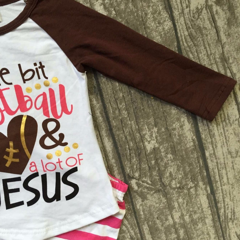 Fall suit baby girls ruffles boutique stripe children pants long sleeves  little bit of football   lot of Jesus match accessory-in Clothing Sets from  Mother ... 90697150d