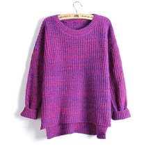 Sueter Mujer 2017 Autumn Winter Fashion Split Swallowtail Female Loose Sweaters Round Neck Women Sweaters And Pullovers LMY17