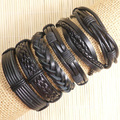 Handmade ethnic tribal genuine wrap charm friendship Wholesale (6pcs/lot)  male pulsera Black leather bracelets bangles S89
