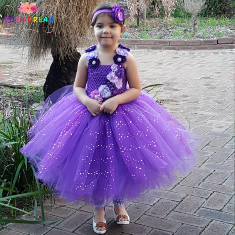 POSH DREAM Purple Flower Girl Shabby Chic Tutu Dress