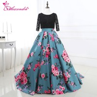 Alexzendra Stock Dress Printed Flowers Ball Gown Evening Dress with Three Quarter Sleeves Prom Dresses Special Party Dresses
