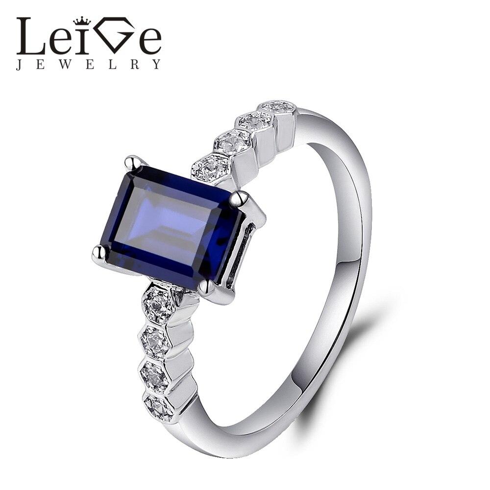 leige jewelry blue sapphire ring emerald cut wedding. Black Bedroom Furniture Sets. Home Design Ideas