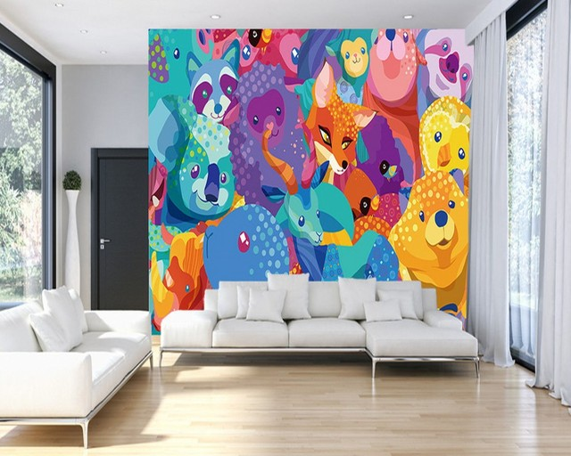 Free Shipping Custom Living Room Wallpaper Abstract Children Bedroom Painting Animal Park Background Wall