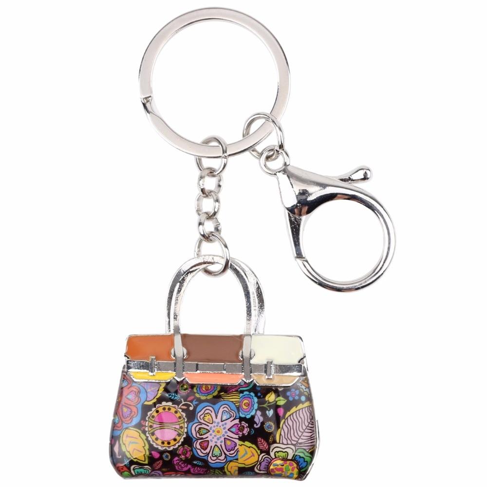 Bonsny emali seos kukallinen käsilaukku avainketju avainniput rengas - Muotikorut - Valokuva 3