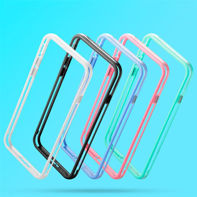 size 40 bcca5 3eb7e Soft Silicone Bumper Frame Case for iPhone X 8 7 7 Plus 6 6s 5 5s SE Cases  Cover Clear Side Protection for iphone 6 6s 7 8 plus