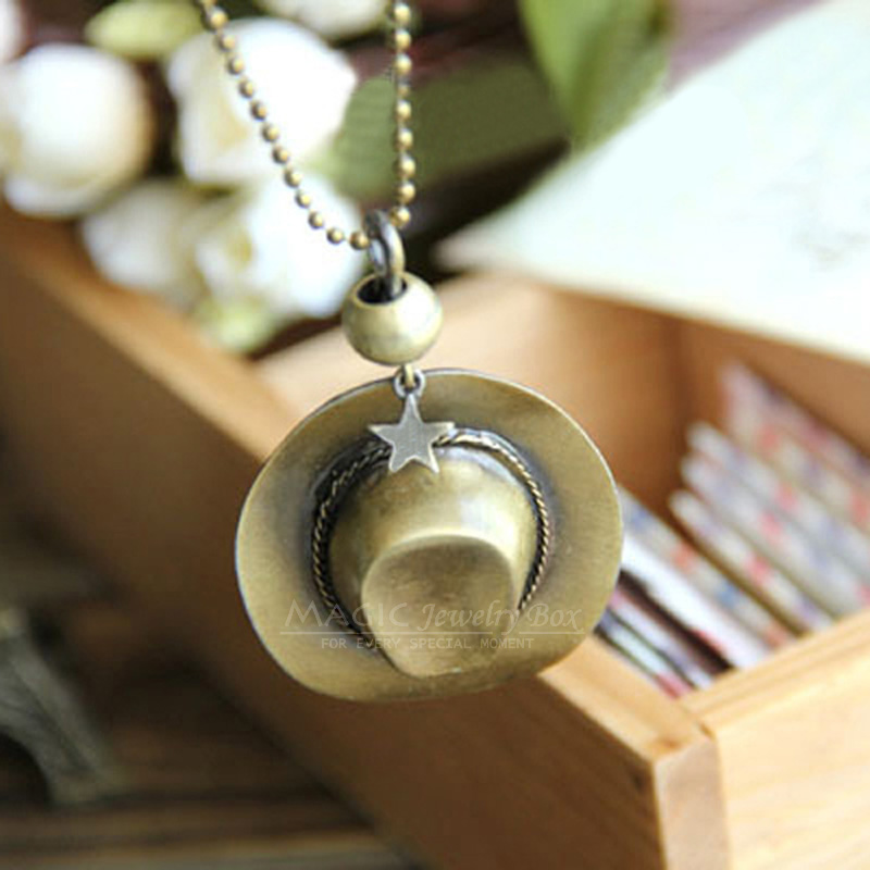 Original New Hip Hop Cowboy Hat Pendant Necklace Men Vintage Gold Bead Chain Star Choker Necklace Women Jewelry Femme Gift image