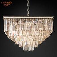1920's Odeon Clear Crystal Fringe Square Chandelier Lighting LED Pendant Hanging Light Home Hotel Living Dining Room Lighting