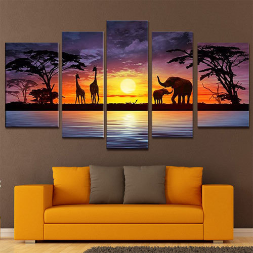 5 Panels Hand Painted Wall Art African Elephants Deer Home Decoration Modern Landscape Oil Painting On