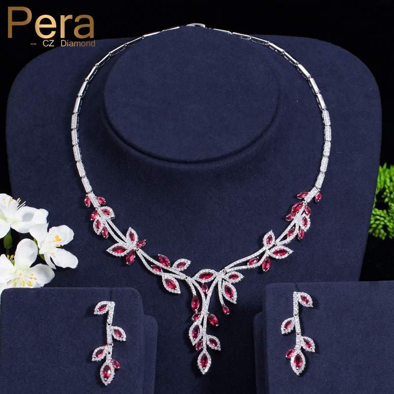 Pera Romantic European Style Cluster Flower Cubic Zircon Elegant Dangling Drop Necklace Earrings Jewelry Set With Red Stone J147Pera Romantic European Style Cluster Flower Cubic Zircon Elegant Dangling Drop Necklace Earrings Jewelry Set With Red Stone J147