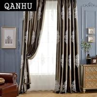 QanHu Elegant Style Factory Direct Shop Customize Curtain Pattern Brand Designer Dark Colors Landing Blackout Curtain