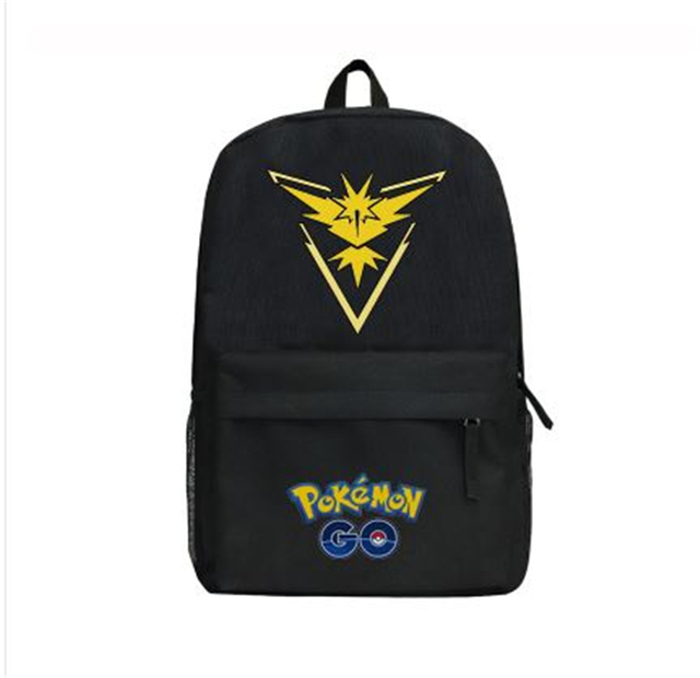 be9291137c GAME Pokemon GO Pocket Monster Tema Valor Mystic Instinct backpack Black  Canvas Shoulder bag School Bag women man Travel bag