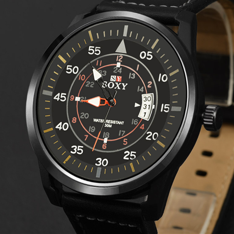 SOXY Fashion Auto Date Watch Men Watch Leather Strap Sport Watches Men's Watches Male Clock Hour montre homme relogio masculino стоимость