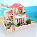 New Free Large Diy Wood Miniature Doll House With Fumiture Light 3D Handmade Miniatura Model Wooden Dollhouse Birthday Gift Toy