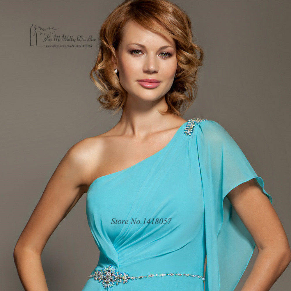 2017 Turquoise Blue Bridesmaid Dresses Long One Shoulder Crystals ...