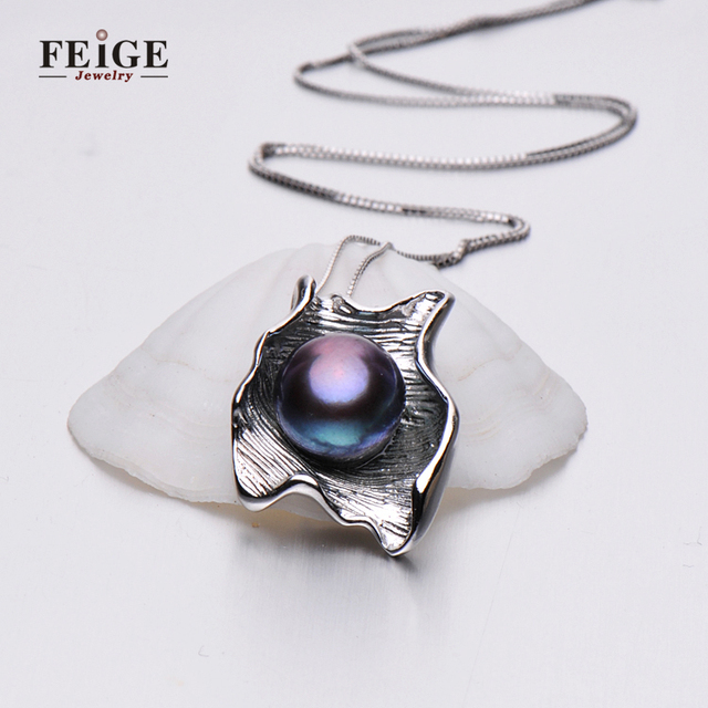 Freshwater Black Pearl Pendant Necklace