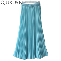 QIUXUAN Sweet Candy Colors Women Ankel Length Skirts Spring Summer Elastic Waist Pleated Skirt High Waist