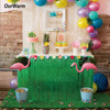 9ft Hibiscus Artificial Grass Table Skirt For Tropical Luau Party Table Decoration Accessories Wedding Decorations Supplies