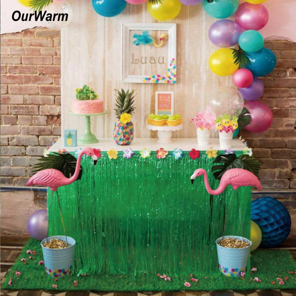 275 75cm hibiscus artificial grass table skirt for for How to make luau decorations at home