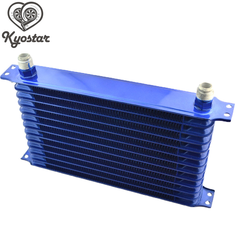 Universal 13 Row 10AN Oil Cooler Radiator Egine Trust Type Black Blue Aluminum Oil Cooler Kit For Car Truck 10 row thermostat adaptor engine racing oil cooler kit for car truck black