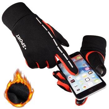 Lauf Handschuhe Wasserdicht Männer Frauen Damen Warme Fleece Winter Run Handschuhe Outdoor Sport Touchscreen Fitness Wandern Handschuhe