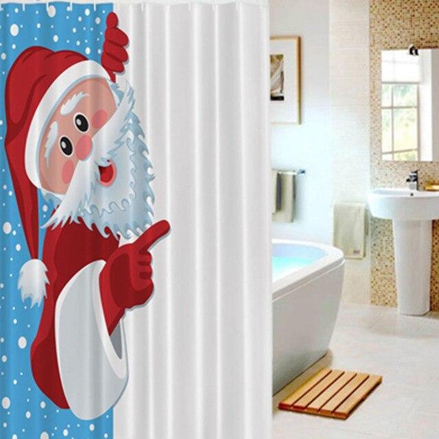 Waterproof Shower Curtain Christmas Naughty Santa Claus Mildewproof Polyester Bathroom Decoration With Hooks