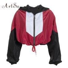 ArtSu ストリートパッチワークウインドブレーカー女性赤ジャケット秋のアウターショートジャケット女性コート服黒 ASCO20264