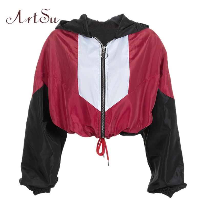 ArtSu Streetwear Patchwork Windbreaker Women Red Jacket Autumn Outerwear Short Jacket Ladies   Coats   Clothes Black ASCO20264