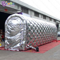 Silver exterior white interior 12 meters long inflatable tunnel LED lighting airblown passageway toy tents