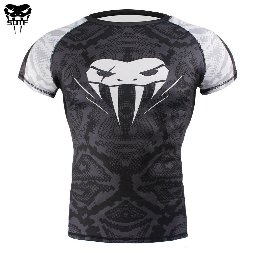 SOTF Snake Scale Short Sleeve Fitness MMA Boxing Jerseys Tiger Muay Thai Rashguard Jiu Jitsu King Boxing T Shirt Mma Compression