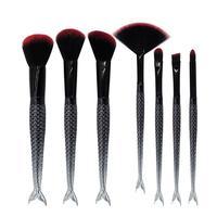 New 7Pcs Set Mermaid Black Portable Makeup Brushes Eye Blending Eyeshadow Smudge Shading Brushes Tool AU1