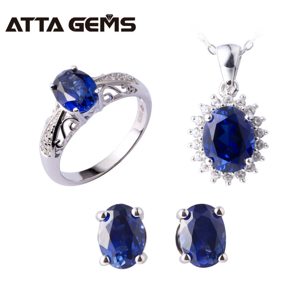 Blue Sapphire Sterling Silver Jewelry Set Women Wedding Engagement Silver Set Created Blue Sapphire Gemstone Classic Style