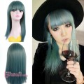 50cm Girl Cool Long Straight Teal Green Synthetic Hair Harajuku Cosplay Costumes Wig With Bangs