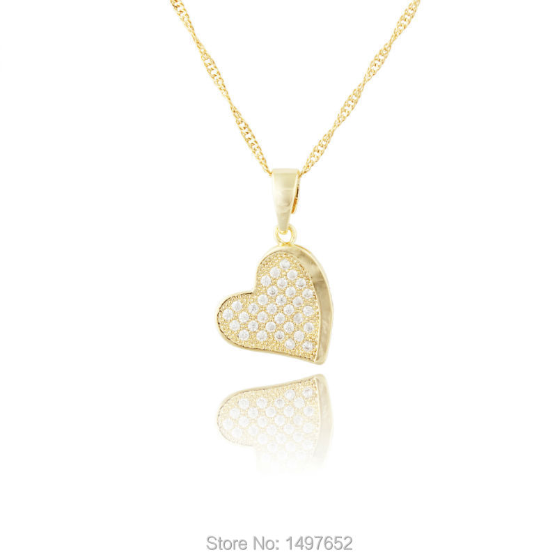 Luxury heart necklace jewelry wholesale gold color romantic rhinestone  heart pendant for women best gift d065371be16b