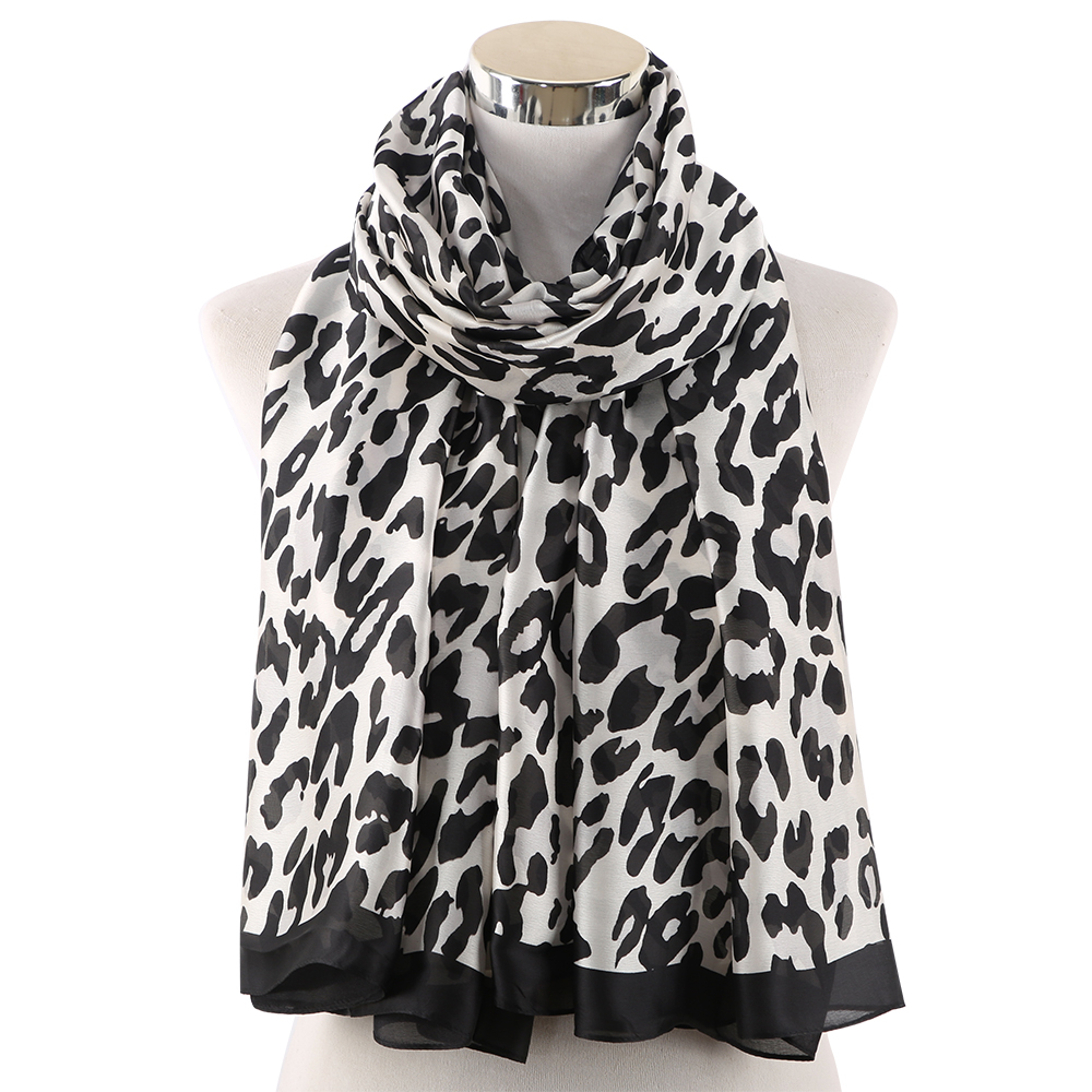 Ladies Soft Silk Blend Animal Leopard Soft Tie-Dye Neck Scarf //Wrap