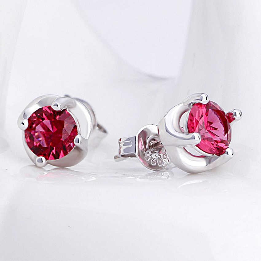Fogos de Artifício Clover 925 Sterling Silver Stud Earringsnew Moda Linda Flor Princesa Red Semi-precious Stone-end Mulheres Jóias