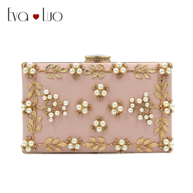 e1fd9bd8a7 RQH6 DHL Free Shipping Pink Pearl Flower Evening Bags Clutch Bag Women  Clutches Lady Wedding bag