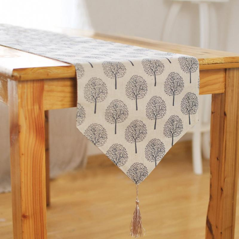 Image 2 - 33cm*160/180/200/220/240cm 5Size Table runner Modern Tree pattern Chirstmas party wedding Decor crafts Linen cotton Table Runner-in Table Runners from Home & Garden