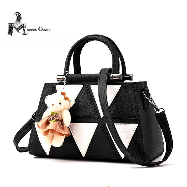 Black White Mini Cute Handbag New Designer Fashion Patent Bag Women Leather Teddy Bear