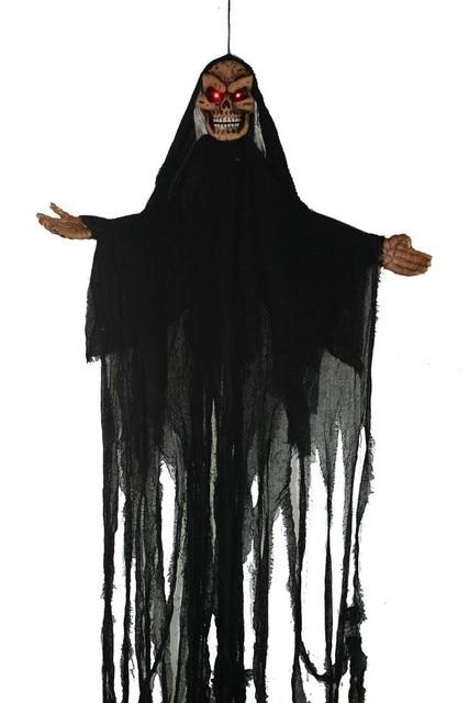 US $922 0  Free shipping Evil Skeleton Adult Black Ghost Robe Halloween  wholesale Skull Ghost Herror Voice Deformed Puffy Red Light Up Eyes on