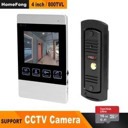 HomeFong 4 sistema intercomunicador de puerta de vídeo timbre de puerta de vídeo HD IR visión nocturna Deurbel Met cámara con 16G kit de tarjeta de seguridad para el hogar