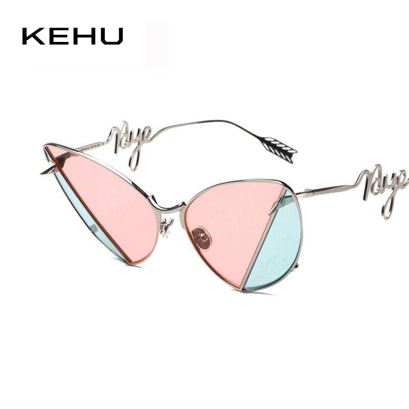 Kehu женщин уникальный дизайн торговой марки cat eye солнцезащитные очки металлический каркас стрелки сетки солнцезащитные очки h1657