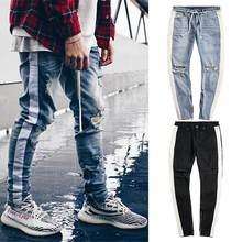 High Street Men Jeans Retro White Striped Destroyed Ripped Design Male Jeans Holes Slim Fashion Side Zipper Skinny Jeans For Men skinny striped jeans