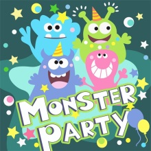 Laeacco Monster Party Birthday Baby Comics Star Poster Photo Backgrounds Photography Backdrops Photocall Studio