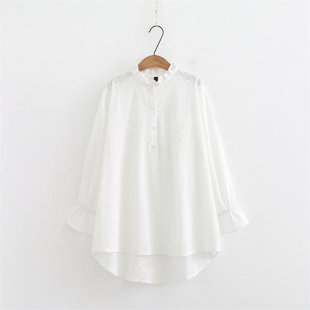 768e3250ebd761 Plus size ruffled Collar women clothing Spring & autumn womens tops and  blouses 2018 Embroidered white