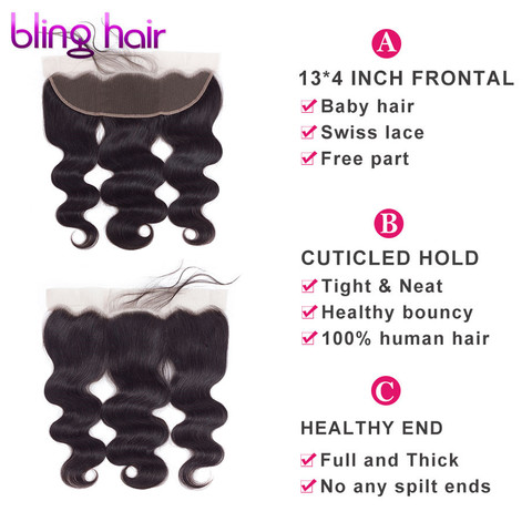 bling hair Body Wave 13*4 Lace Frontal Closure with Baby Hair Free Part 100% Indian Remy Human Hair Pre-plucked Natural Hairline Lahore