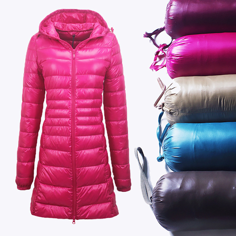 Women Autumn Winter Hooded   Down     Coats   Female Long Sleeve Thin Jackets Slim Solid   Coats   White Duck   Down   Outerwear Portabl S-7XL